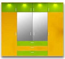 Распашной четырехстворчатый шкаф